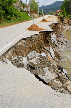 landslip: Destroyed road landslide damaged in powerful flood