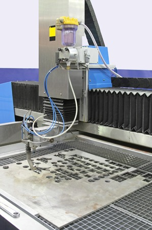 water jet: High pressure water jet CNC cutting machine in factory Stock Photo