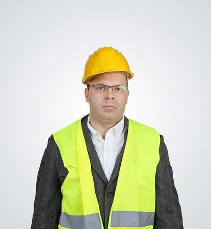 high visibility: Manager with safety vest and hard hat Stock Photo