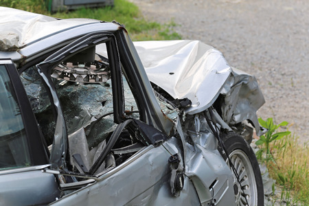 traffic accident: High speed head on car collision traffic accident Stock Photo