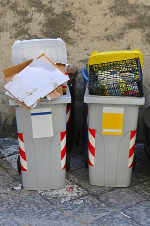 botes de basura: Dos contenedores con ruedas y reciclar los botes de basura