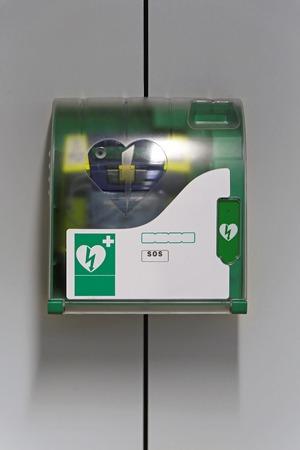 cardiac arrest: Automated external defibrillator emergency device at wall