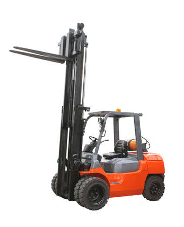 powered: Gas powered forklift truck isolated on white Stock Photo