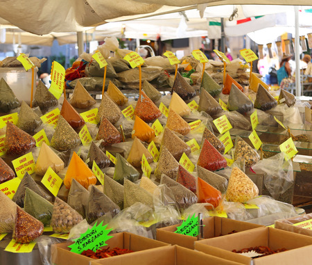 Herbs and spices in bulk bags at Rome market photo