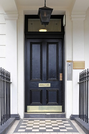 Black door at Victorian house in London