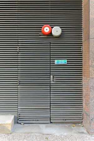 sprinkler alarm: Fire exit with alarm bell safety system