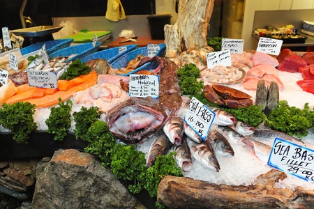fish store: Fresh seafood at fish market stall