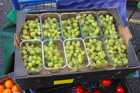 seedless: White grapes in plastic trays at farmers market