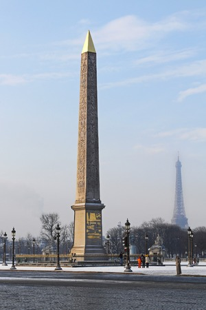 obelisk stone: PARIS, FRANCE - JANUARY 7: Egyptian obelisk on JANUARY 7, 2010. Cleopatra Needle from Luxor at Place de la Concorde in Paris, France.