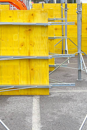 insulate: Yellow construction form for pouring concrete walls