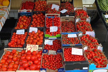 Various tomatoes from Sicily at Farmers Market photo
