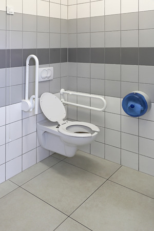 handrails: Accessible toilet for people with physical disabilities Stock Photo