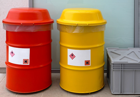 hazardous: Barrels for dangerous and hazardous waste disposal