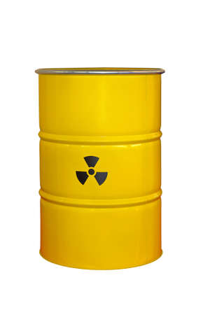Radioactive barrel isolated included clipping path photo