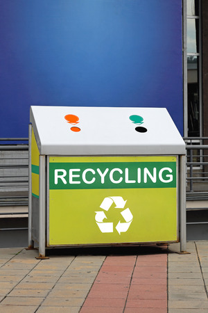 waste material: Recycling bin for collecting and sorting different waste Stock Photo