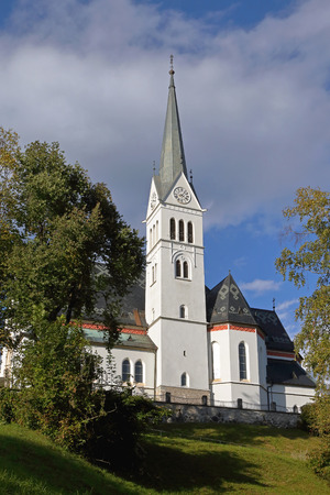 neo gothic: BLED, SLOVENIA - OCTOBER 12: St Martin Church Bled on OCTOBER 12, 2014. Neo Gothic Parish Church of Saint Martin at Bled lake in Slovenia.