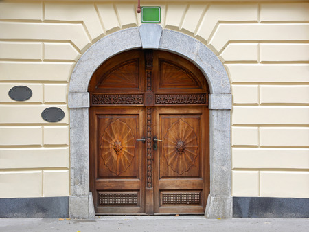 Medieval engraved wooden door with stone arch photo