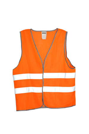gears: Orange safety vest isolated included. Stock Photo