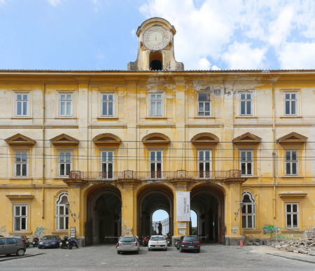 neo classical: NAPLES, ITALY - JUNE 24: Palace of Portici in Naples on JUNE 24, 2014. Entrance to Royal Palace of Portici and the Museum of Herculaneum in Naples, Italy.