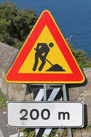 roadworks: Roadworks traffic sign at Amalfi Coast Stock Photo