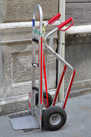 hand truck: Modern aluminium hand truck for delivery in city