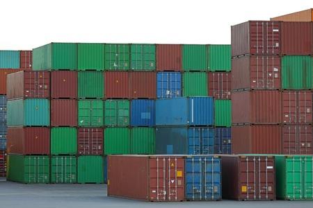 intermodal: Intermodal containers at cargo terminal port