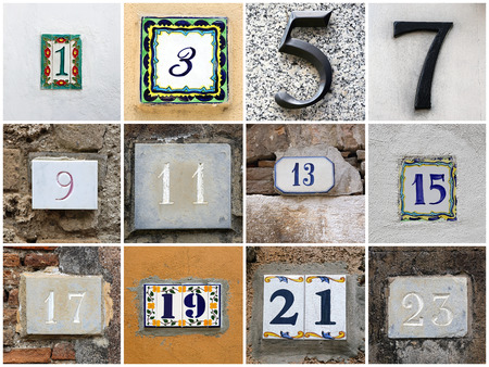 twenty thirteen: Collage of odd house numbers from 1 to 23