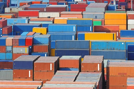 intermodal: Aerial view of intermodal containers at cargo port