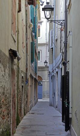 trieste: Narrow street Mediterranean style architecture in Trieste