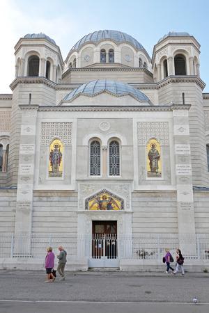 cristian: TRIESTE, ITALY - OCTOBER 14: Saint Spyridon Church in Trieste on OCTOBER 14, 2014. Serbian Orthodox Parish of St. Spyridion Thaumaturge at Genoa street in Trieste, Italy.