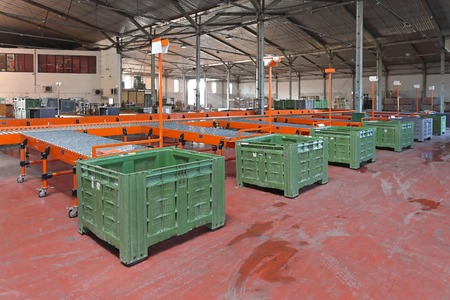 sorting: The interior of delivery and sorting warehouse Stock Photo