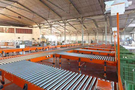 sorting: Conveyer belt system in sorting warehouse