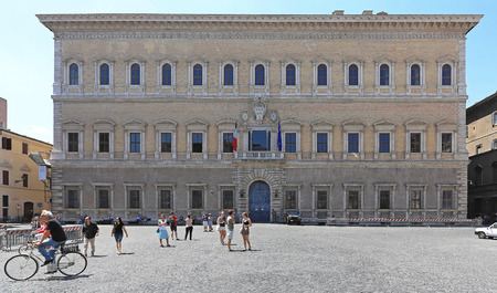 french renaissance: ROME, ITALY - JUNE 29: French Embassy in Rome on JUNE 29, 2014. Historic Building of Renaissance Palace Farnese at Piazza Farnese in Rome, Italy. Editorial