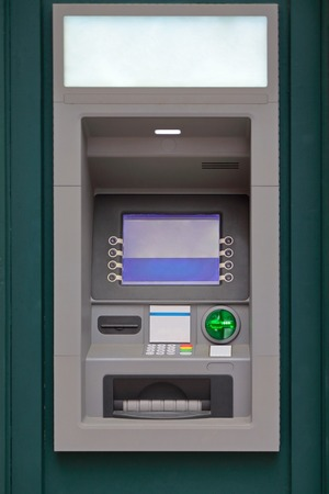 bank protection: Modern automated teller machine at building exterior Stock Photo