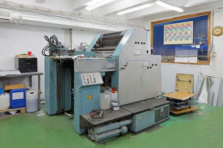 offset printing: Offset printing machine in factory Stock Photo