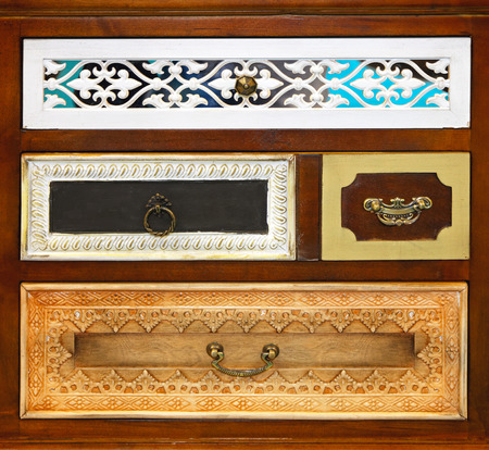 drawers: Vintage style decorative drawers in small cabinet Stock Photo