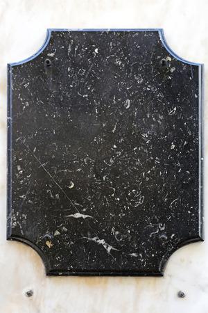 memorial plaque: Empty heritage plate in black marble stone