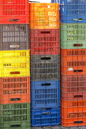 stackable: Stackable Plastic Crates for Produce at Farmers Market Stock Photo