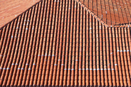 Terracotta Ceramic Roof Tiles From Above Stock Photo, Picture And Royalty  Free Image. Image 40636186.