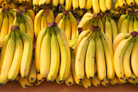 Bunch of ripened bananas at grocery store
