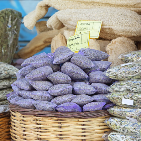 Dried Lavander in bags at Farmers Market Stock Photo