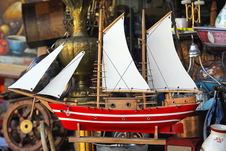 Old Wooden Sail Ship Model at Flea Market Stock Photo