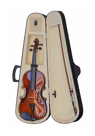 fiddles: Violin in Case Isolated Included Clipping Path Stock Photo