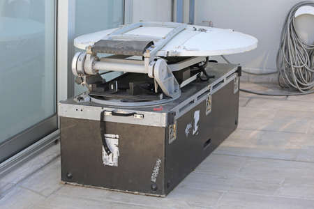 telecommunications equipment: Portable Collapsible Mobile Satellite Dish with Microwave Television Broadcast Link