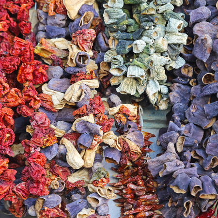 sun dried: Sun Dried Aubergines Peppers and Tomatoes at Market
