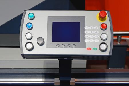 machinery machine: Machine Control Panel With Display And Keypad Stock Photo