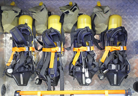 contained: Self Contained Breathing Apparatus With Compressed Air For Firefighters Stock Photo