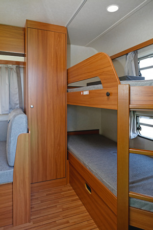 bunk: Bunk Bed And Closet in Camping Trailer