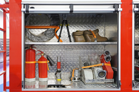 engine fire: Equipment and Tools in Fire Engine Cabinets