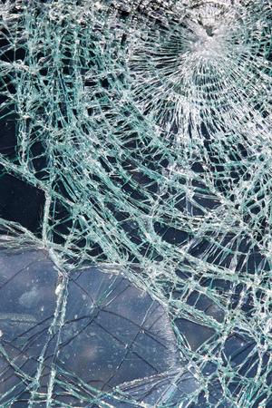 shattered: Shattered Glass Broken Windshield in Traffic Accident